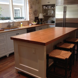 texas stone kitchen with pecan island and countertops