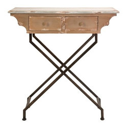 Cannon Iron and Wood Entry Table - *This unique desk style entry table features a unique design and is a fabulous conversation starter for any foyer!