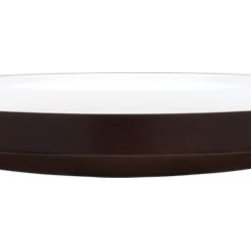 mangowood white bowl - dark to light. Handmade super sleek, super smooth scoop of eco mango wood contrasts dark walnut exterior, slick hi-gloss white interior. Convex bottom subtly swoops to meet straight rim with precision. Stunning solo or fill with objects and imagination. Layer with larger mangowood chartreuse bowl.- Handmade- Mango wood- Walnut-stained exterior, white lacquered interior- Do not wash or scrub- Wipe immediately with soft clean cloth- Do not cut directly on surface- Do not use with acidic food- Foodsafe- Made in India- See dimensions below