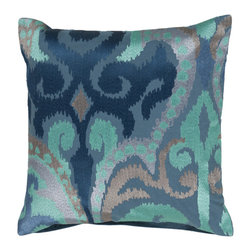 """Surya - Square Cotton Pillow AR-075 - 22"""" x 22"""" - Liven up any space with this stylish design and blue colors . This pillow has a polyester fill and zipper closure. Made in India with one hundred percent cotton, this pillow is durable and priced right."""