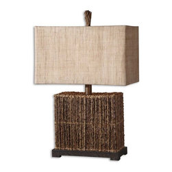 Uttermost - Barbuda, Table Lamp - Natural palm branches strung together with woven rattan accented with a rustic bronze foot