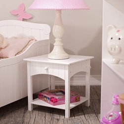 KidKraft Nantucket Toddler Bedside Table - About the Nantucket Toddler Bedside Table Complete your child's bedroom with this Nantucket Toddler Bedside Table. Its white color matches all decors and its arched drawer has timelessly stylish wainscoting. It also has a round pull knob and includes a bottom shelf for extra storage. A perfect match to your child's Nantucket bed.About KidKraftKidKraft is a leading creator manufacturer and distributor of children's furniture toy gift and room accessory items. KidKraft's headquarters in Dallas Texas serve as the nerve center for the company's design operations and distribution networks. With the company mission emphasizing quality design dependability and competitive pricing KidKraft has consistently experienced double-digit growth. It's a name parents can trust for high-quality safe innovative children's toys and furniture.
