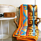 Native American Design Wool Blanket, Bright Sunset Colors by Oh This Nose - A Navajo-patterned blanket is a simple way to bring the Southwestern trend into the home, even after the succulent sun has gone away.