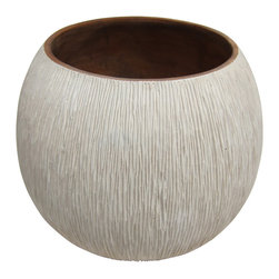 Bahari - Mango Wood Chiseled Verticle Pattern Low Vase - Mango Wood Chiseled Verticle Pattern Low Vase. Handcrafted from a one solid piece of Mango wood. Glass Liner included