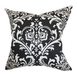 """The Pillow Collection - Malaga Damask Pillow Black 20"""" x 20"""" - An intricate traditional damask print decorates this soft throw pillow. Style your interiors with this elegant accent piece to add drama and sophistication. This printed decor pillow features a black and white color palette. Decorate your bed, sofa, nook or floor with this fancy 20"""" plush pillow. Pair this with solids and make this the statement piece of your living room or bedroom. Hidden zipper closure for easy cover removal.  Knife edge finish on all four sides.  Reversible pillow with the same fabric on the back side.  Spot cleaning suggested."""