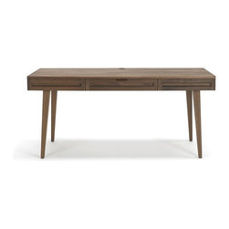 """Jesper - Jesper - Highland Collection - Solid Wood 64"""" Desk W/ Wood Legs - Walnut - Handmade in the USA of solid North American Cherry or Black Walnut from FSC-certified local forests, this hand-crafted product is finished with a pure hand-rubbed oil finish. Simply choose your size, finish and a wood or steel base to create the look that is right for you."""