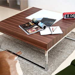 Furniture of America - Furniture of America Mint Coffee Table - Add a retro touch to any room with this square coffee table. Crafted with a high-shine metal base and a walnut-finished top,the coffee table features hidden storage compartments that allow you to store small items and reduce clutter.