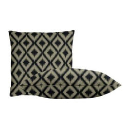 "Cushion Source - Ikat Fret Charcoal Throw Pillow Set - The Ikat Fret Charcoal Throw Pillow Set consists of 18"" x 18"" throw pillows with a globally-inspired diamond ikat pattern in charcoal on a beige background."