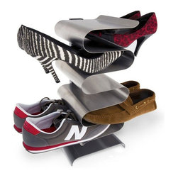 j-me design - Nest Shoe Rack, Free Standing - The Nest Shoe Rack is one of the most stylish and convenient ways to store your shoes! It comes in either a wall mounted or free standing version - both of which hold your shoes without compromising that precious living room or entry way space. Its super sleek design allows you to grab your shoes quickly and easily. Both styles of the Nest Shoe Rack can hold up to six (6) pairs of shoes.