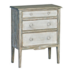 Holly Heavy Distressed Painted Burlap French Country Bedside Chest - A rescued French side table inspired the distressed beauty of this petit three-drawer chest. Painted burlap front drawers provide storage while adding style and elegance. Place the bedside table in your master suite for a softening accent.