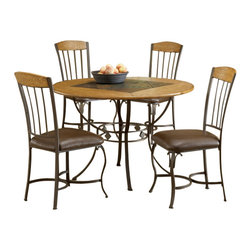 Hillsdale Furniture - Hillsdale Lakeview 5-Piece Round Dining Room Set with Wood Side Chairs - This unique dining set from Hillsdale combines elements of contemporary design with those found in classic pieces of furniture. The round table is made with a stone and slate top which has a contrasting colored diamond shaped inlay in the center. The base of the table is constructed of metal formed into strips to make an ornamental design with circles enclosing the four legs. The intriguing circular design is also found on the legs of the chairs which have padded seats covered in dark brown fabric. The top sections of the chair backs have the same stone material used for the table's surface.