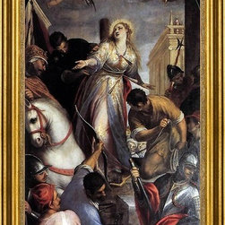 """Sante Peranda-14""""x28"""" Framed Canvas - 14"""" x 28"""" Sante Peranda Martyrdom of St Christina framed premium canvas print reproduced to meet museum quality standards. Our museum quality canvas prints are produced using high-precision print technology for a more accurate reproduction printed on high quality canvas with fade-resistant, archival inks. Our progressive business model allows us to offer works of art to you at the best wholesale pricing, significantly less than art gallery prices, affordable to all. This artwork is hand stretched onto wooden stretcher bars, then mounted into our 3"""" wide gold finish frame with black panel by one of our expert framers. Our framed canvas print comes with hardware, ready to hang on your wall.  We present a comprehensive collection of exceptional canvas art reproductions by Sante Peranda."""