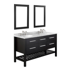 "Bosconi - 60"" Bosconi SB-250-5 Vanity Set - If you're seeking a double-sink vanity with plenty of room to hold your bathroom essentials, look no further. Store smaller items inside the soft-closing drawers and large items on the slated lower shelf. Dual coordinating mirrors and a stunning white Carrara marble countertop with silver-tone hardware completes this contemporary set."