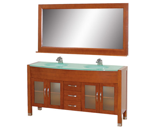 "Wyndham Collection - Daytona Bathroom Vanity in Cherry, Green Glass Top, Green Integral Sinks - The Daytona 63"" Double Bathroom Vanity Set - a modern classic with elegant, contemporary lines. This beautiful centerpiece, made in solid, eco-friendly zero emissions wood, comes complete with mirror and choice of counter for any decor. From fully extending drawer glides and soft-close doors to the 3/4"" glass or marble counter, quality comes first, like all Wyndham Collection products. Doors are made with fully framed glass inserts, and back paneling is standard. Available in gorgeous contemporary Cherry or rich, warm Espresso (a true Espresso that's not almost black to cover inferior wood imperfections). Transform your bathroom into a talking point with this Wyndham Collection original design, only available in limited numbers. All counters are pre-drilled for single-hole faucets, but stone counters may have additional holes drilled on-site."