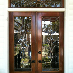Front Door - custom designed entry door with lead lines clear beveled glass in doors and transom