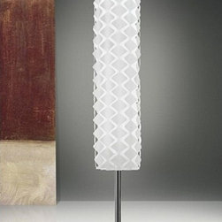 "Vesoi - Vesoi Orimega floor lamp - This lamp has a rather unique feature. It sports a Clip-on diffuser made of cotton attached to PVC in white and black that connects to the chromed steel body. The lower lamp shield is constructed of opal PVC.  Product description: The Orimega 30 floor lamp was designed by Mario de Rosa in 2003. This lamp has a rather unique feature. It sports a Clip-on diffuser made of cotton attached to PVC in white and black that connects to the chromed steel body. The lower lamp shield is constructed of opal PVC. Details:                         Manufacturer:            Vesoi                            Designer:                                    Mario de Rosa                                                                   Made in:            Italy                            Dimensions:                        H: 70.8"" ( 180 cm) X D: 11.8"" ( 30 cm)                                           Light bulb:                                                1 x 54W Fluorescent                                                      Material            Steel & Fabric/ PVC                                    IP Rating:            23"
