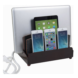 "Great Useful Stuff - Ultra Charging Station - Rustic Modern - Haven't you always dreamt of a place where you can charge all of your tech devices at once and not get tangled in a nest of cords? Dream no more! The new GUS Ultra Charging Station is the perfect answer to your wishes. This Multi Charging Station has enough space to charge three phones, a tablet, and a laptop while keeping all the messy cords organized! The G.U.S. Ultra Charging Station features a new back compartment to accomodate a USB powerstrip (sold separately) capable of charging up to 5 devices, or a standard 6 outlet powerstrip will do the job as well. For the multi-device household (and who isn't?) , this is an product you can't be without! This Ultra Charging Station measures (10"" length x 8"" width x 7.25"" height) and the vertical slot measures 3"" accommodating most laptops and tablets. (USB Powerstrip or standard 6 outlet Powerstrip are sold separately)."