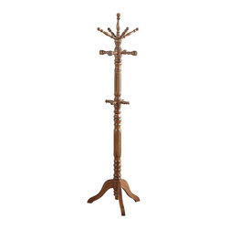 Adarn Inc. - English Fashion Solid Wood Coat Hat Rack Hanger Hooks Hall Tree Stand, Walnut - In pure English fashion, this prim and proper cherry / black / walnut wood finished coat rack features hooks for the entire family to store their coats. With hooks at two different levels, the little ones of your family wont have trouble hanging their belonging any day.