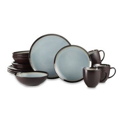 Baum - Baum Gilded 16-Piece Dinnerware Set in Sky - The Gilded Sky Dinnerware Set exemplifies a casual display of elegance. A rich brown and light blue color scheme creates a stunning contrast for a truly appealing tabletop.