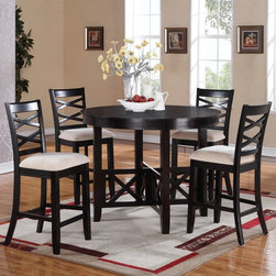 Standard Furniture - Standard Furniture Epiphany 5 Piece Counter Height Dining Table Set - Java Brown - Shop for Dining Sets from Hayneedle.com! The perfect table to accommodate your family's busy lifestyle the Standard Furniture Epiphany 5 Piece Counter Height Dining Table Set - Java Brown is great for casual family meals game night and more. The set includes a round counter-height dining table and four coordinating chairs. All are made of sustainable rubberwood with cherry veneers and engineered wood products in a java brown finish. The chairs feature neutral polyester microfiber fabric upholstered seats and double X back detail. The table has matching X design on its pedestal base. About Standard FurnitureFounded in 1946 as a family owned American-based company Standard Furniture operates their own manufacturing and distribution facilities in Bay Minette and Frisco City Alabama with more than 80% of their entire workforce based out of the United States. Their 1.4 million square feet of manufacturing space 1.5 million square feet of warehouse space and more than 40 trucks enable them to keep up with customer demand. Their main focus is to assist their customers in growing their retail businesses by supplying products that will sell due to quality design and value. As one of the leading case goods manufacturers in the market Standard Furniture's continual growth and presence in the market place has remained steady over the last 60 years.
