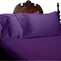 SCALA - 600TC 100% Egyptian Cotton Stripe Purple King Size Sheet Set - Redefine your everyday elegance with these luxuriously super soft Sheet Set. This is 100% Egyptian Cotton Superior quality Sheet Set that are truly worthy of a classy and elegant look. King  Size Sheet Set includes :1 Fitted Sheet 78 Inch (length) X 80 Inch (width).1 Flat Sheet 108 Inch (length) X 102 Inch (width).2 Pillowcase 20 Inch (length) X 40 Inch (width).