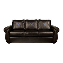 Dreamseat Inc. - US Air Force Chesapeake Brown Leather Sofa - Check out this Awesome Sofa. It's the ultimate in traditional styled home leather furniture, and it's one of the coolest things we've ever seen. This is unbelievably comfortable - once you're in it, you won't want to get up. Features a zip-in-zip-out logo panel embroidered with 70,000 stitches. Converts from a solid color to custom-logo furniture in seconds - perfect for a shared or multi-purpose room. Root for several teams? Simply swap the panels out when the seasons change. This is a true statement piece that is perfect for your Man Cave, Game Room, basement or garage.