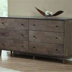 None - Vilas Light Charcoal 6-drawer Dresser - Add a stylish touch to your living space with this light charcoal dresser from Vilas. This 6-drawer dresser is finished with a durable,wooden construction.