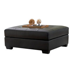Coaster - Coaster Darie Leather Cocktail Ottoman in Black - Coaster - Ottomans - 500607 - Bringing versatile function and pristine style to your home, this ottoman is the ultimate living room accessory. Upholstered with a plush button-tufted cushion, this ottoman offers optimal comfort and support for sitting or resting your legs. Placed in the center of the room, it also serves well as a table for eating and even working while lounging on the couch. Constructed with crisp lines and raised on block wood feet, this ottoman is infused with a sleek contemporary style that will dress up any room. Draped in a rich black bonded leather, this ottoman's modern vibe is only further intensified, creating a chic atmosphere you will never forget.