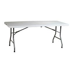 Office Star - Work Smart Resin 6 ft. Resin Center Fold Multi Purpose Table - 6' resin center fold multi purpose table