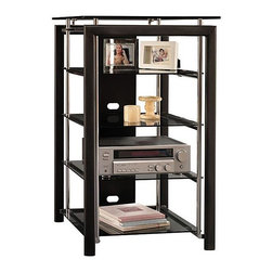 Bush - Audio Tower w AV Support - Midnight Mist - The Midnight Mist Audio Tower with AV Support features tempered glass shelves that rest on vibration-dampening pads to eliminate vibration.  This classy display rack combines black, metal and glass accents in a way that will enhance your home d̩cor scheme.  This strikingly beautiful Black Wood & Metal Frame Audio Tower with Glass Shelves displays an easily accessible open architecture with black, metal and glass accents.  Unique vibration-dampening pads under each tempered glass shelf provide for enhanced sound quality.  Constructed with black, metal and glass accents for a truly modern style. * Tempered glass shelves rest on vibration-dampening pads for enhanced sound quality. Attractive open architecture with black, metal and glass accents. Back panel provides rear wire access and concealment. Tested for tip stability with your safety. GREENGUARD Indoor Air Quality Certified�. 25.591 in. W x 22.283 in. D x 41.653 in. H