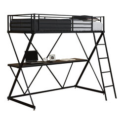 Ameriwood - DHP X-Shaped Twin Metal Loft Bunk Bed in Black - Ameriwood - Bunk Beds - 5440096 - The awesome stylish design of DHP's X Loft Bed will appeal to you and the high-quality of the product will impress you. Space-saving and convenient this bunk bed provides a comfortable sleeping alternative with a large and useful work station together in one. The black metal finish is secure and solid and will make an impactful design statement for your room. Accommodating any twin-size mattress the loft bed has an easy-to-climb front ladder and full-length guardrails for security. Once assembled you will be in awe of how great DHP's X-Loft Bed in black looks.