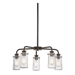 Kichler Lighting - Kichler Lighting KCH-43058-OZ Braelyn Transitional Chandelier - There's so much to love about the reclaimed style of this 5 light chandelier from the Braelyn™ collection. The vintage industrial design is punctuated with Clear Seedy Glass shades, reminiscent of glass jars that were a staple of 19th century American life. The Olde Bronze™ finish and carbon filament replica light bulbs enhance this style, making the fixtures the perfect addition to any spaces.