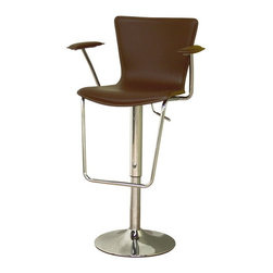 Baxton Studio - Baxton Studio Brown Bonded Leather Adjustable Bar Stool - Add a contemporary look to your home bar or kitchen with this adjustable barstool. Barstool features durable steel construction and will last for years to come. Smooth, ergonomic black bonded leather seat with a gas hydraulic lift. Something special about this bar stool are the padded arm rests which will make sitting much more comfortable.
