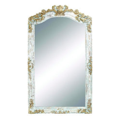 """Benzara - Adra Square Attractive and Elegant Wall Mirror - Deck up your home and add to its elegant appeal with this lovely mirror. This masterpiece features a white frame with faded white finish and intricate carved gold carvings on the top and other sides of the frame. This mirror can be used as dressing mirror or can just be used as a wall decor. This square shaped elegant and lovely mirror can brighten up any plain wall or corner of your house adding depth and making the room look spacious and brighter. Your guests are surely going to admire this mirror and your great choice.This unique wall mirror is easy to clean and maintain. Designed to suit all types of environment and ambience, this mirror is assured to make your home look glamorous. You can even present it to your family and friends and they are sure to cherish it. So get one now and experience the change!. This Elegant Wall Mirror measures 48 inch (W) x 2 inch (L) x 86 inch (H); Intricate carved wooden frame; Antique finishing in shades of gold and white; Dimensions: 48""""L x 2""""W x 42""""H"""