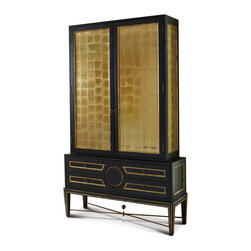 Kathy Kuo Home - Rutherford Hollywood Regency Black Gold Leaf Eglomise Collector's Cabinet - Oversized opulence sets this decadent, dark display cabinet apart from the rest. Tall glass doors finished in traditional French gold leaf eglomise grace the top cabinet, while the bottom chest holds four generously-sized drawers. Metallic gold knobs embellish each cabinet door and drawer. An illuminated interior holds two clear shelves, perfect for displaying collectibles of any kind.