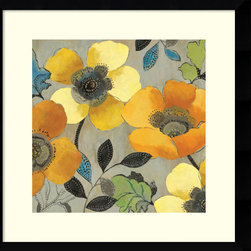 Amanti Art - Allison Pearce 'Yellow and Orange Poppies II' Framed Art Print 27 x 27-inch - These perky yellow and orange poppies from Allison Pearce will provide a pleasing pop to your wall.