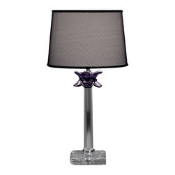 """ITALAMP - ITALAMP 389 Table Lamp - The 389 Table Lamp has been designed and made by Italamp. 389 Table Light is a contemporary lamp made of glass, Swarovski elements, metal and fabric. This modern hanging lamp is a beautiful addition in any kind of room, small or large, home, office or hotel settings. The table lamp consists of a metal structure which sustains its body in transparent glass with nickel finishes and Swarovski elements, or violet and black colored glass body with nickel finishes and Swarovski elements. The 389 lamp is available in two dimensions with black colored shade fabric option. The 389 Table Lamp is dimmable and when is turned on the lamp diffuses a parade of light with bright personality. Illumination is provided by E26, 60W Halogen, or 15W Energy Saving, or 10W LED bulb (not included).      Product Details: The 389 Table Lamp has been  designed  and made by Italamp. 389 Table Light is a contemporary   lamp made of    glass, Swarovski elements,  metal and fabric. This modern  hanging lamp is a beautiful addition in any kind of room, small or large, home, office or hotel settings. The  table lamp consists of a metal structure which sustains its   body in transparent glass with  nickel finishes and Swarovski elements, or violet and black colored glass body with nickel finishes and Swarovski elements. The 389 lamp is available  in two dimensions with  black colored shade fabric option. The 389 Table Lamp is dimmable and when is turned on the lamp diffuses a parade of light with bright personality. Illumination is provided by E26, 60W  Halogen, or 15W Energy Saving, or 10W LED bulb (not included). Details:                         Manufacturer:            Italamp                            Designer:            Italamp                            Made in:            Italy                            Dimensions:                        Small: 389/LP: Diameter: 9.5""""(24.1cm) X Height: 18.2""""(46.2cm)             Large: 389/LG: Diameter: 15""""(38.1cm) X Height:"""