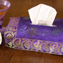 "Tissue Box Covers - Adorable ""Plum Purple"" tissue box cover. Hand painted design made in India. Dupion Silk fabric. Unique and decorative tissue box cover."