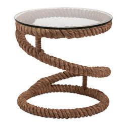 iMax - Bedford Jute Rope Accent Table - Throw me a rope: Jute-based accent table with a glass top is ideal for a casual coastal setting.