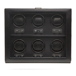 WOLF - Heritage 6PC Watch Winder w/cover in Black - There's no time to lose. And you won't with this automatic watch winder. It holds up to six of your priceless timepieces and keeps them ticking so you never lose time when you're not wearing them. The see-through lid keeps them free of dust and dirt.