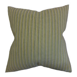 "The Pillow Collection - Elke Stripes Pillow Green 18"" x 18"" - Reinvent your home with this plush toss pillow and bring extra comfort. Featuring a classic stripe pattern, this accent pillow comes with a combination of green, blue and gray hues. This throw pillow is perfect for your sofa, bed or couch. Made of high-quality materials, this 18"" pillow ensures long lasting quality."