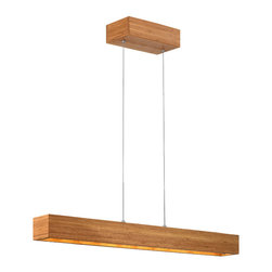 Frederick Ramond - Fredrick Ramond Zen Linear Mini-Pendant - This modern cable hung design is the ultimate in eco-chic. Constructed with sustainable  environmentally-friendly solid bamboo  this collection also utilizes an energy-efficient LED light source.