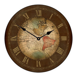 "Tyler - Old World Map Clock, 36"" - Made When Ordered in the USA"