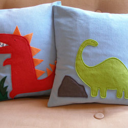 Dinosaur Pillow by Two Birds Textiles - I totally fell in love with these handmade corduroy and felt cushion covers. They're oh-so-cute in their simplicity.