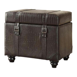 Convenience Concepts - Office Storage Ottoman - Unique crocodile leather look and texture. Hinged top for easy access. Removable lap top desk. Perfect for the home office or for students. Limited warranty. Made from PVC. Espresso color. No assembly required. 20 in. L x 17 in. W x 18 in. H (17 lbs.)