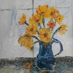 Hot Summer (Original) by Anne Jenkins - Thick impasto paint gives this piece texture. I had some small sunflowers in a big potery coffee mug on the window sill, they'd been up a few days and starting to wilt. I liked the look of the less than perfect, scrappy flowers suggesting heat.