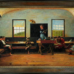 overstockArt.com - Homer - The Country School Oil Painting - One of Winslow Homer's captivating group interactions of kids playing, The Country School , originally created in 1871, today it has been hand painted on canvas, color for color and detail for detail. An American landscape painter, best known for his marine subjects. He was largely self-taught and is considered one of the foremost painters in 19th century America. Enjoy his rich and beautiful imagery captured in a hand oil painting. This image is sure to gain admirers.