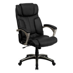 Flash Furniture - High Back Folding Black Leather Executive Office Chair - This unique office chair folds if you have the need to slide under your desk or give your office an open feeling when not in use. The two thumb sliders placed on the sides of the chair make it an easy transition to the folding position. Chair also features a locking tilt control, pneumatic seat lift and a sturdy nylon base that is trimmed in silver.
