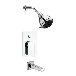Remer - Round Sleek Chrome Tub and Shower Faucet Set - 5 Function tub and shower faucet.