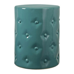 Button Tufting Ceramic Garden Stool - Don't you love the color and the button tufting of this unique Chinese garden stool? It would be lovely for a bedroom, bathroom, patio or beach house.